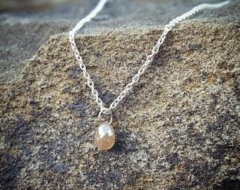 Diamond Necklace April Birthstone Necklace Womens Gift for Women Raw Diamond Necklaces Silver Rough Diamond Jewelry Natural Diamond Pendant