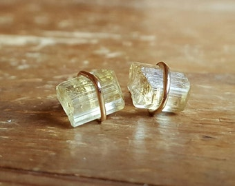 Raw Crystal Earrings, Raw Crystal Studs, Raw Stone, Stud Earrings Womens Gift, Scapolite Crystal Earrings Gold Studs Raw Scapolite Jewelry