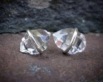 Herkimer Diamond Earrings, Herkimer Diamond Studs, Raw Stud Earrings, Raw Crystal Studs, Womens Gift, Herkimer Diamond Jewelry, Stud Earring