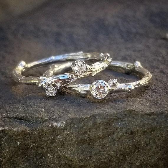 Diamond Wedding Ring Set White Gold Bridal Sets Wedding Etsy