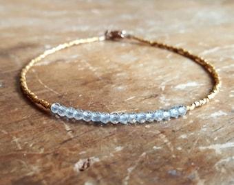 December Birthstone Bracelet Blue Topaz Bracelet Womens Gift Blue Topaz Bracelets Gold Beaded Bracelets Bead Bracelet Something Blue Gift