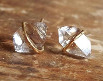 Herkimer Diamond Stud Earrings, Herkimer Diamond Studs, Herkimer Diamond Earrings, Raw Diamond Earrings, Raw Crystal Earrings, 14K Gold Stud