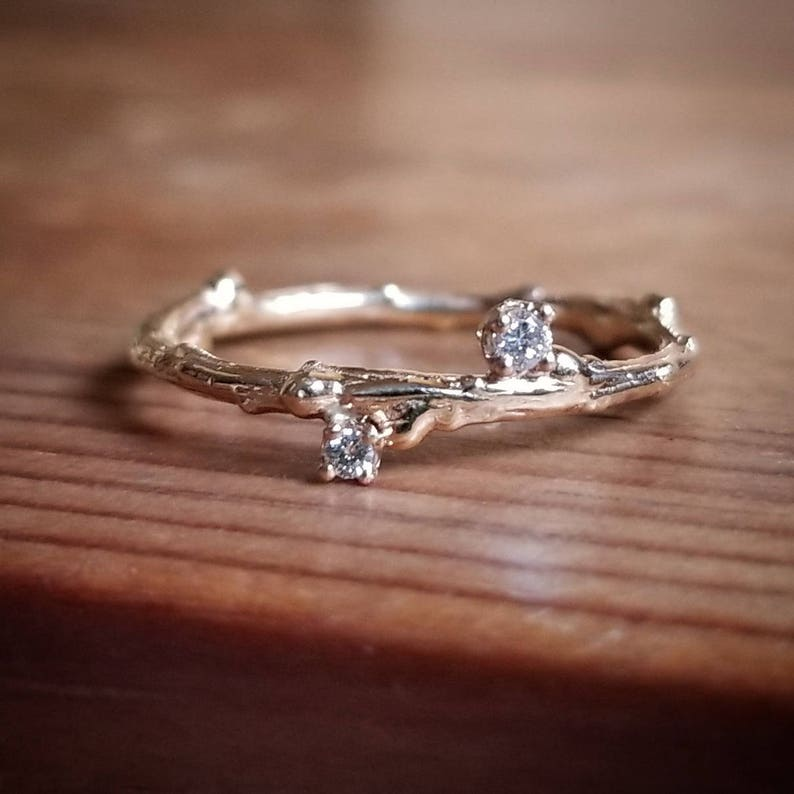 0b1e40ac30ad Diamond Wedding Band Women 14K Gold Twig Ring Diamond Band