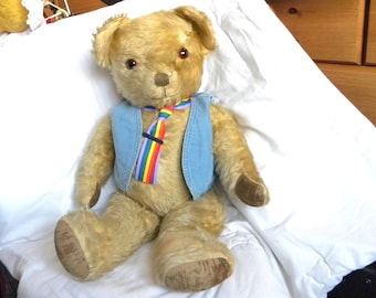 "1950's English Bear - 27"" Musical Mohair Teddy Bear"