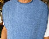Terry Cloth Adult Bib Denim Blue Special Needs Shirt Protector