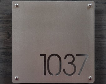 1ed3410aef4 CUSTOM Minimalist Square House Number Sign in Stainless Steel