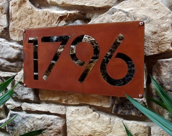 13eb61d9c98 CUSTOM Minimalist Circle House Number Sign in Rusted Steel