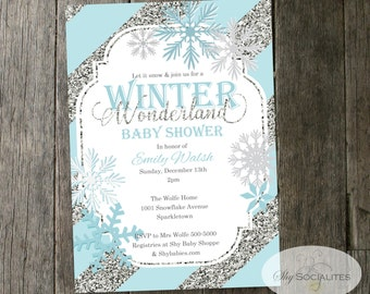 winter wonderland baby shower invitation snowflakes blue silver glitter stripes instant download editable text pdf
