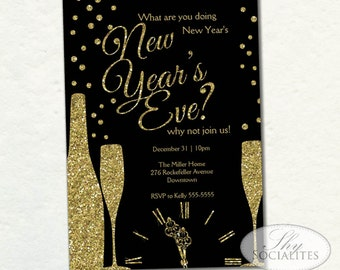 champange new year invitation new years glitter clock champagne sparkle dots what are you doing new years eve instant download