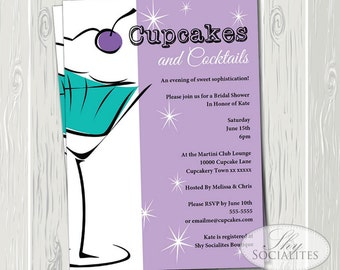 cupcakes and cocktails invitation martini and cupcake cocktail party cosmos bridal shower birthday 21st birthday instant download