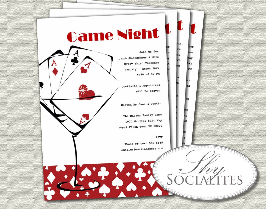 Red Martini Cards Game Night Invitation Poker Night Games Etsy