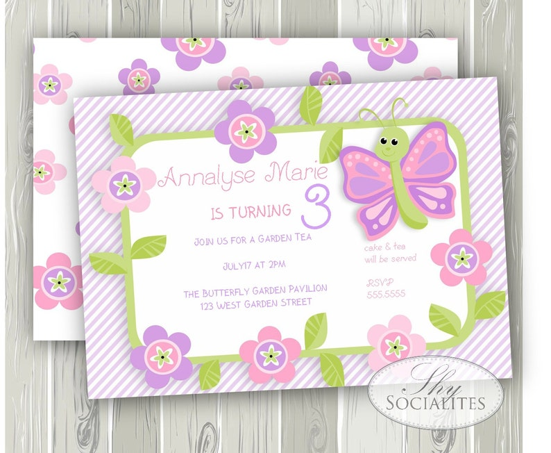 Purple Butterfly Invitation INSTANT DOWNLOAD