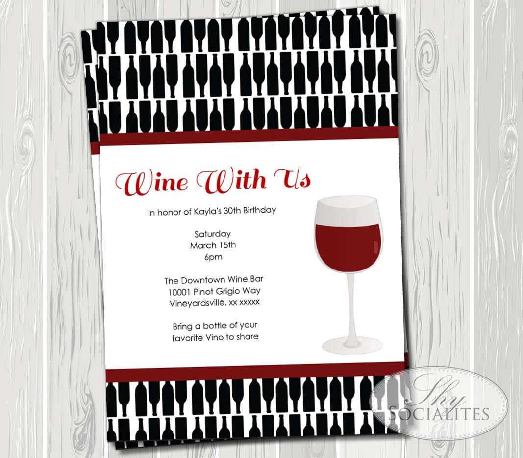 printable red wine invitations bridal shower cocktail etsy