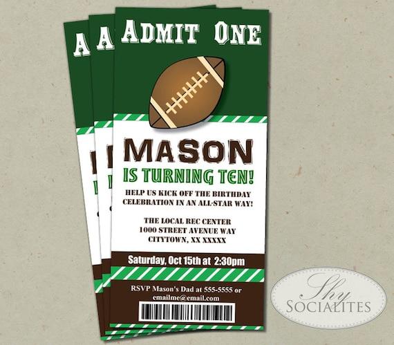 football ticket printable invitations admit one football etsy