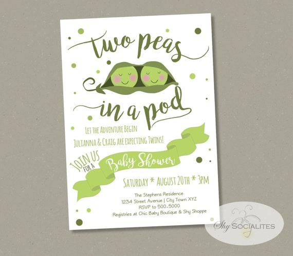 Two Peas In A Pod Baby Shower Invitation Twins Baby Shower Invitation Sweet Peas Pea Pod Boy Or Girl Instant Download