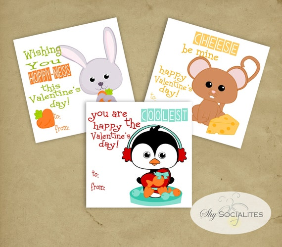 Cute Animal Valentines Sweet Valentines Instant Download Etsy