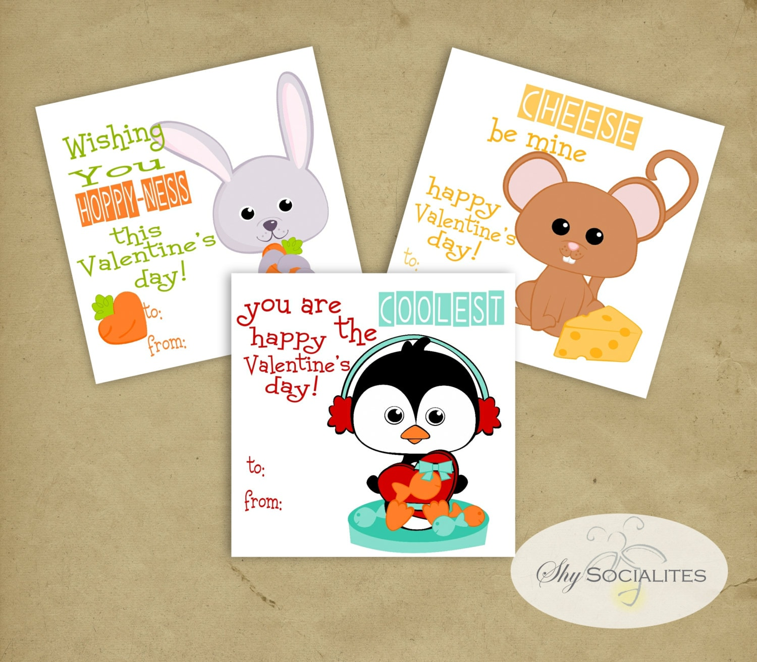 Image of: Hippo 50 Etsy Cute Animal Valentines Sweet Valentines Instant Download Etsy