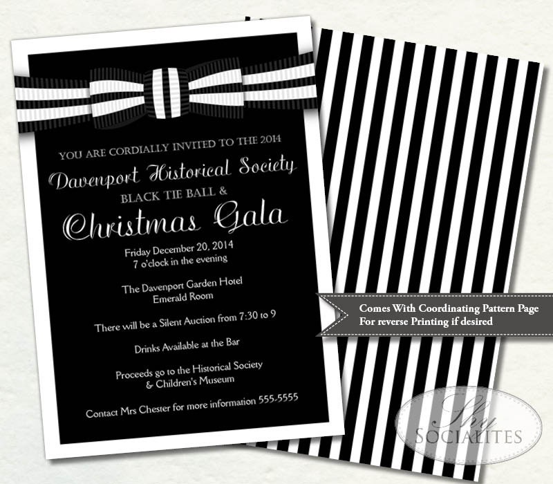 black and white christmas party invitations - Leon.escapers.co