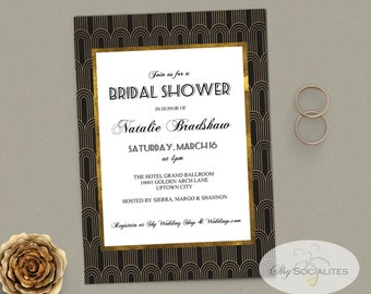 1920s Style Invitation | Art Deco, Swing, Flapper, Glamour, Black & Gold Foil Look | Use for any occasion! | PRINTED or DIY Digital File
