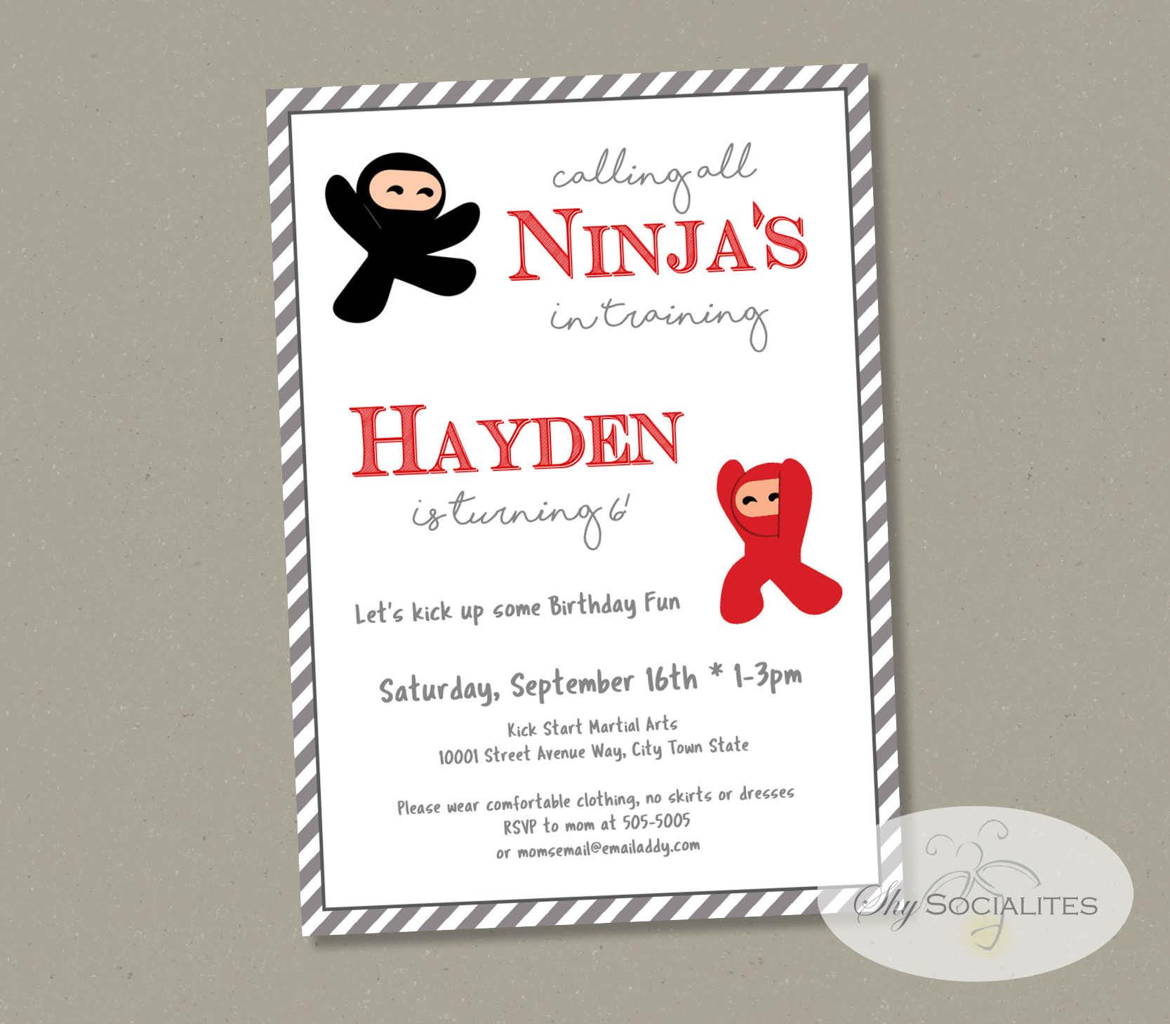 Ninja Party Invitation Martial Arts Birthday Karate
