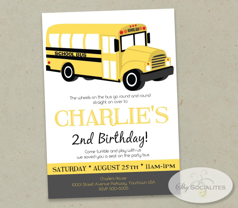 school bus invitation boys birthday party bus yellow bus