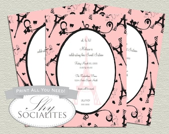 Parisan Invitation | Paris Party, Parisin Party,Eiffel Tower Invitation, Paris in Pink, Poodle, Sweet Sixteen | Printed Cards or Printable