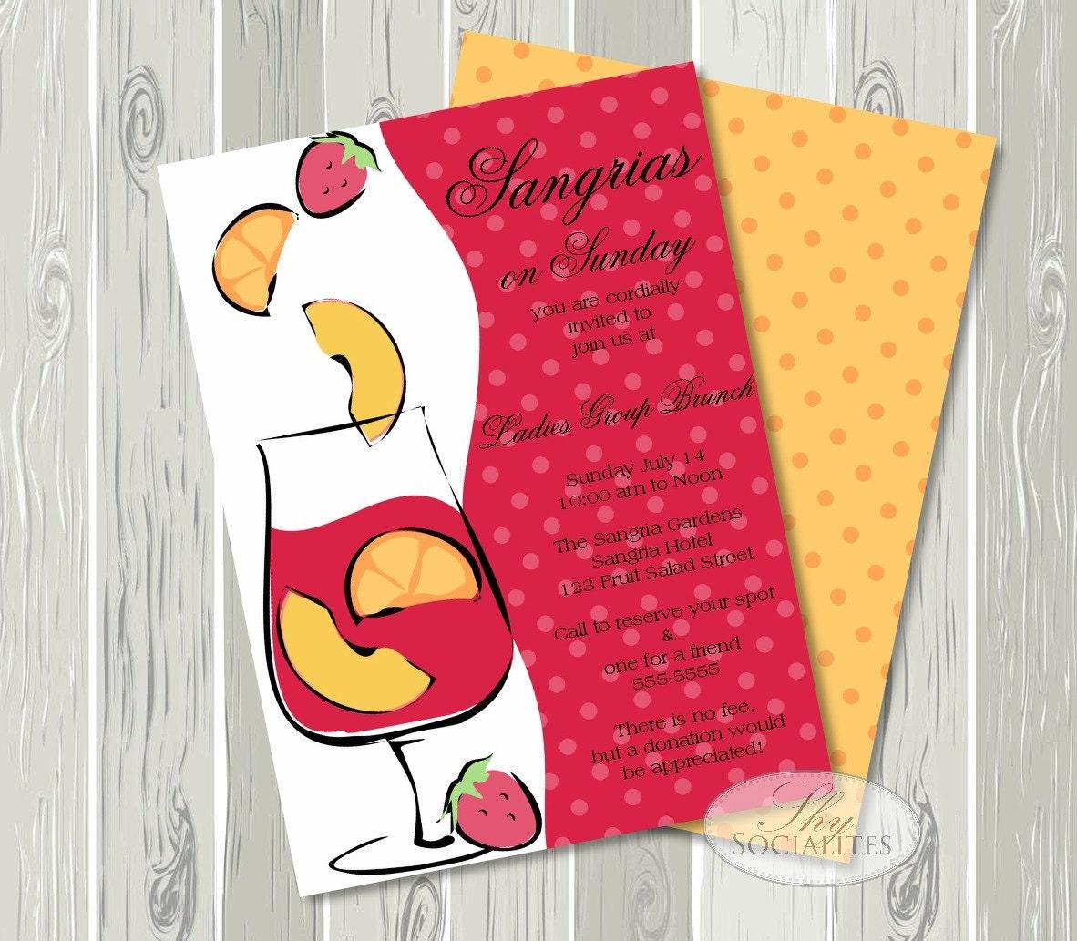 Sangria Invitation / Bridal Shower Brunch / Champagne | Etsy