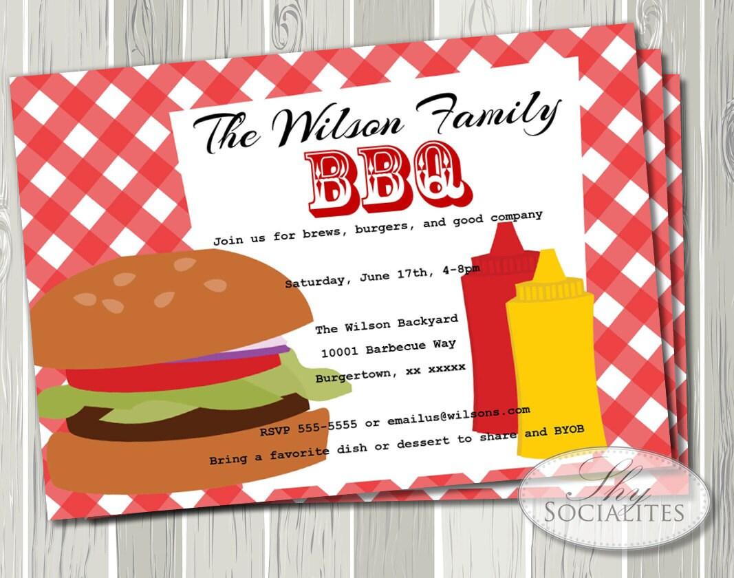 Bbq Invitation Hamburger Picnic Barbeque Company Picnic Etsy
