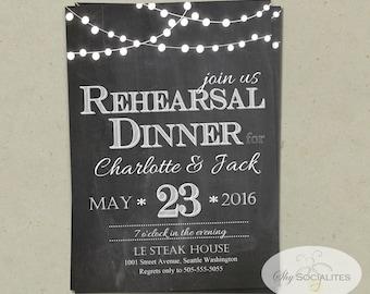 Chalkboard & Lights Rehearsal Dinner Invitation | Christmas Lights, White Lights, Patio Lights, String Lights | PDF Instant Download