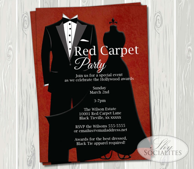 59745b971363 Black Tie Invitation Red Carpet Party Hollywood Party Red   Etsy