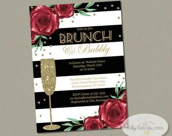 Brunch & Bubbly Bridal Shower Champagne Invitation | Roses, Black Stripes, Flowers, Gold Glitter, Elegant, Mimosas | Instant Download