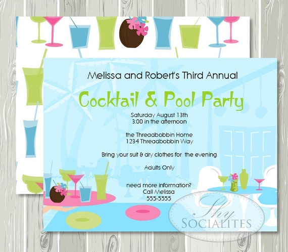 Cocktail Pool Party Invitation Adult Pool Party Cocktail Etsy