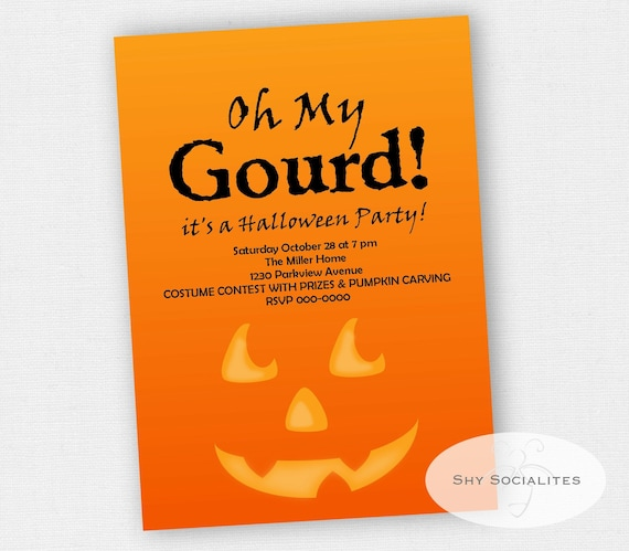 oh my gourd invitation pumpkin carving invitation etsy