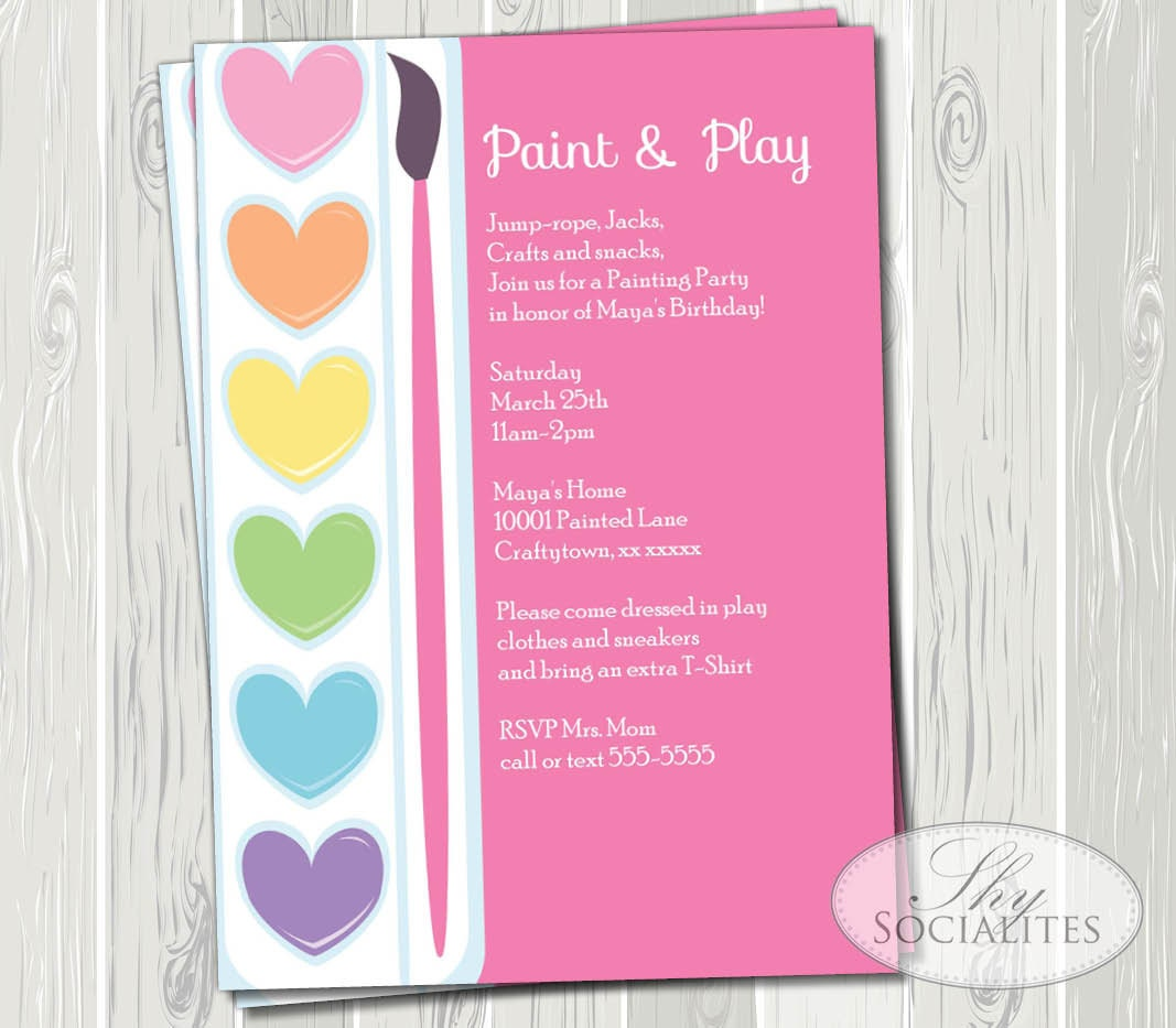 Pink Painting Party Printable Invitations Ceramic Pottery