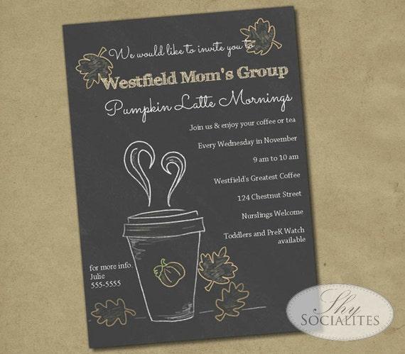 coffee invitation pumpkin latte chalkboard invitation etsy