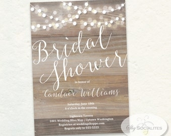 Wood Bridal Shower White Lights Invitation | Lanterns, Rustic, Shabby Chic | INSTANT DOWNLOAD You edit text in Adobe Reader