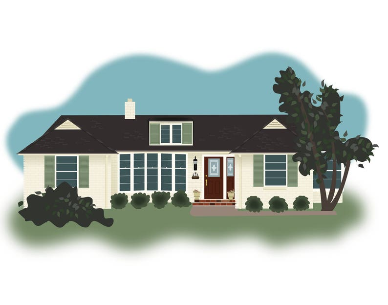 Custom House Drawing | Home | Building | Housewarming Illustration |  Digital Drawing |JPG | Housewarming } New Home | Custom Illustration