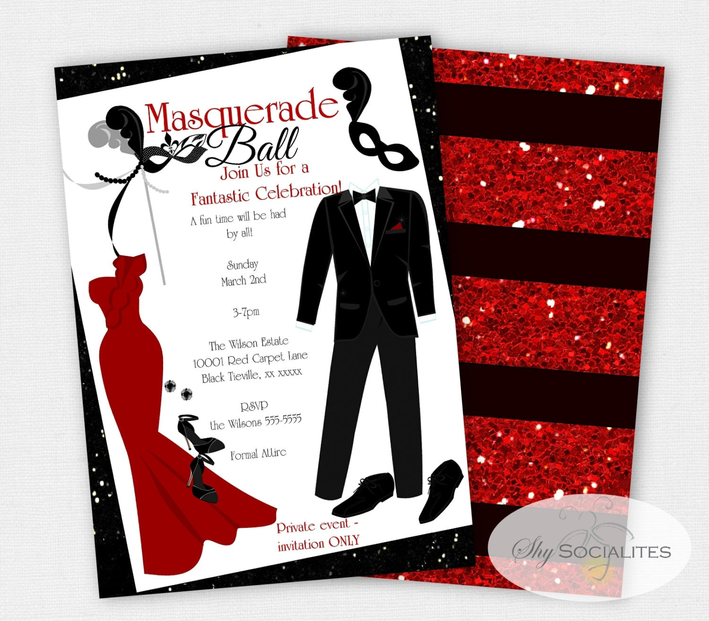 Masquerade Ball Invitation Formal Event Prom Red Carpet