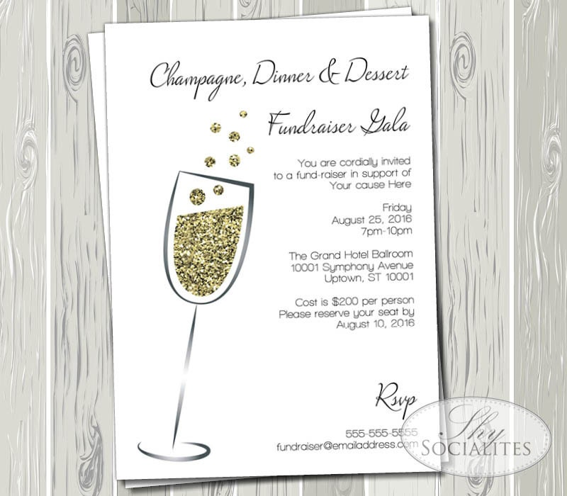 Champagne gold glitter invitation gala fundraiser black etsy zoom stopboris Gallery