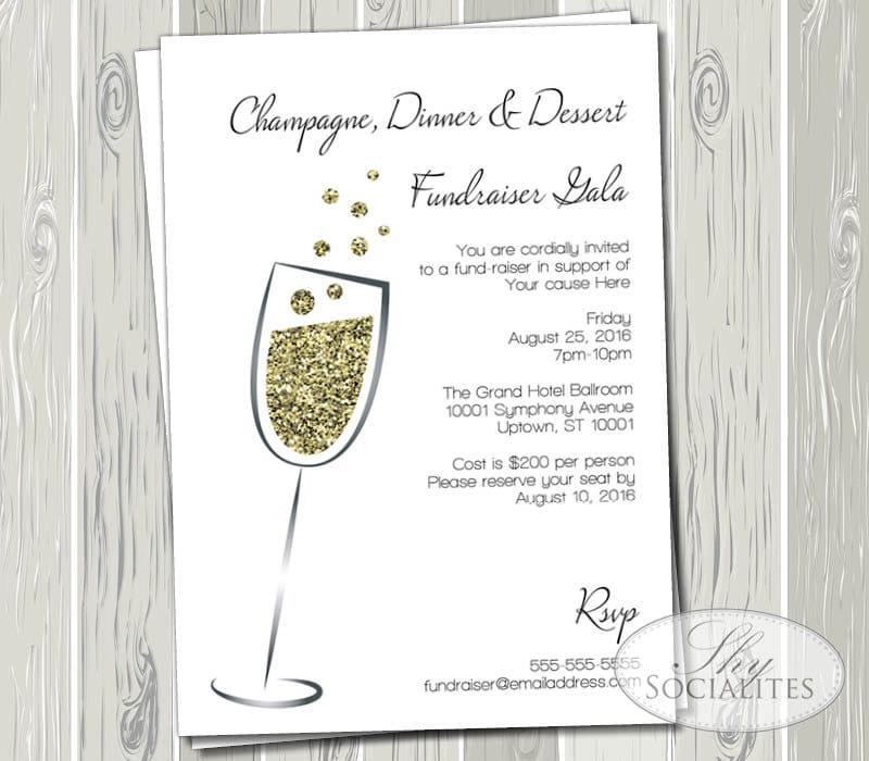 Champagne gold glitter invitation gala fundraiser black etsy zoom stopboris Choice Image