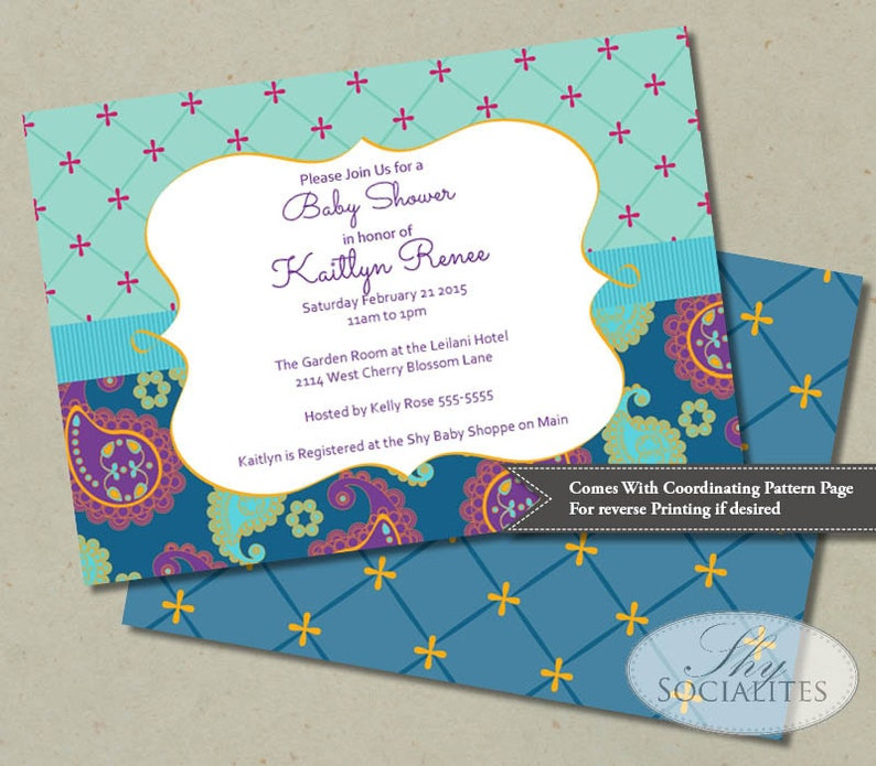 Moroccan-Themed Baby Shower Invitation in Teal & Aqua