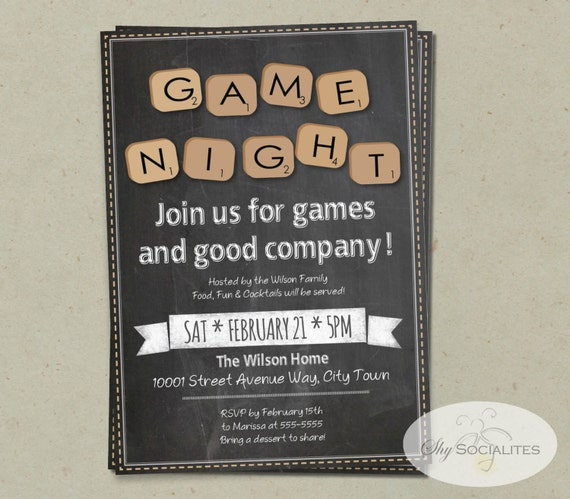 Chalkboard Game Night Invitation Instant Download Word Etsy