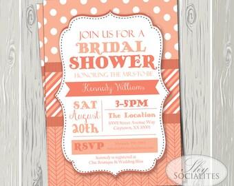 Coral Invitation   Wedding, Bridal Shower, Baby Shower, Couples Shower, Shabby Chic, Modern, Herringbone, Polka Dots   INSTANT DOWNLOAD