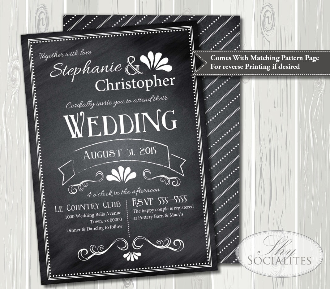 Wedding Invitations Old Fashioned: Vintage Chalkboard Wedding Invitation Elegant Old