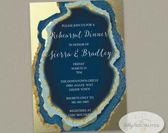 Blue Gold Dipped Agate Slice Invitation   Gold Foil, Geode, Wedding, Bridal Shower, Rehearsal Dinner, Couple's Shower   INSTANT DOWNLOAD