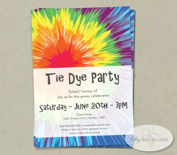 tie dye invitation instant download editable text pdf that etsy