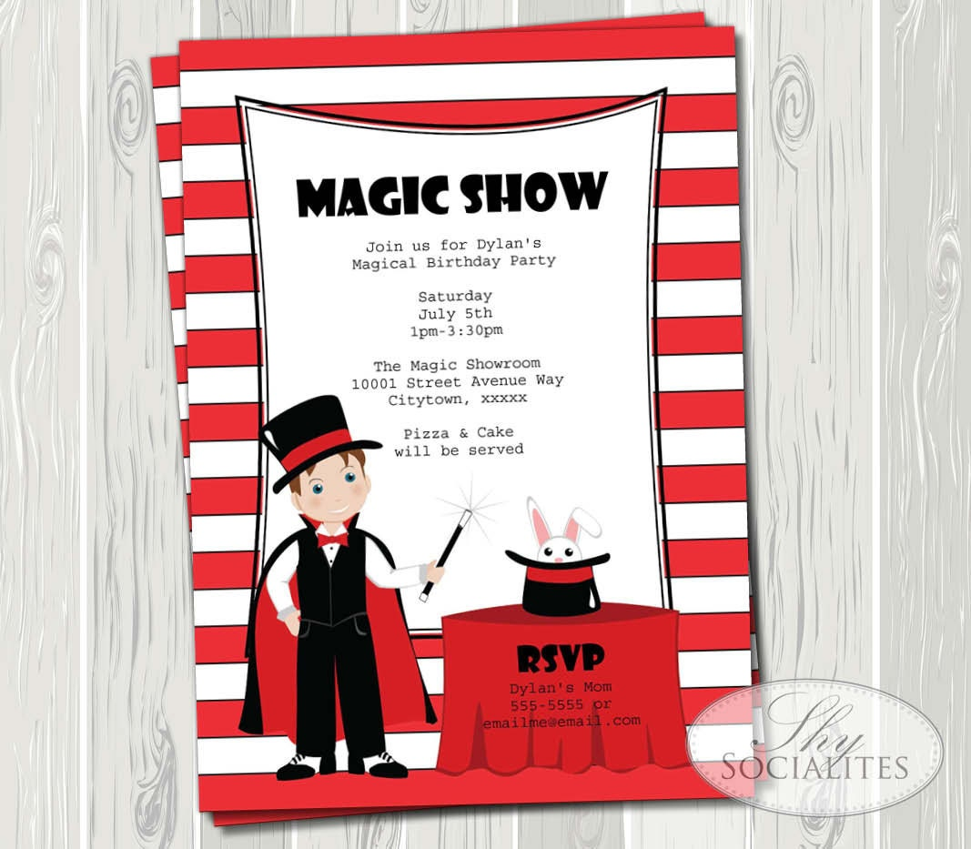 Magic Show Invitation Magic Party Magic Birthday Magic