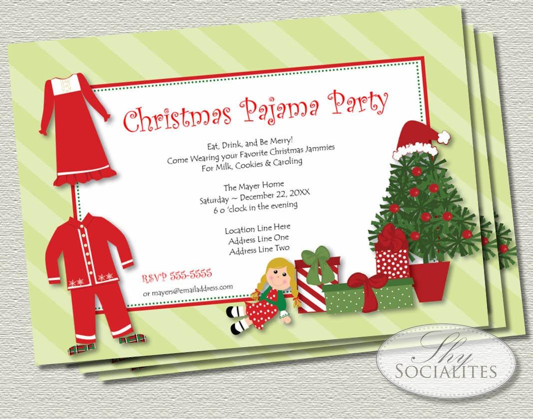 Christmas Pajamas Printable Invitations Jammies Christmas   Etsy