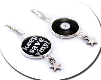 Keep Save Vinyl and Stars Record Vinyl Music - Earrings