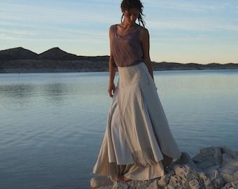 Desert Dream Rising Sun - Handwoven Raw Silk Wedding Wrap Skirt - Wearable Fiber Art